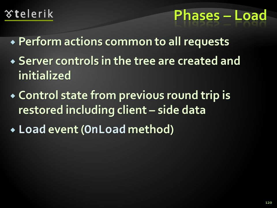  Perform actions common to all requests  Server controls in the tree are created and initialized  Control state from previous round trip is restored including client – side data  Load event ( OnLoad method) 120
