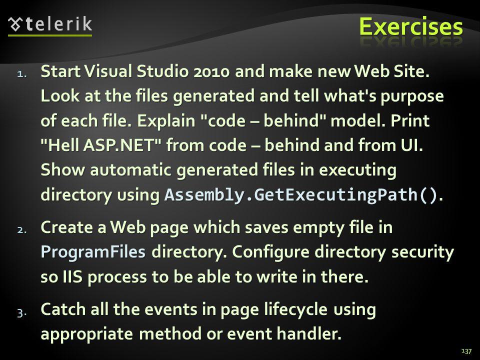 1. Start Visual Studio 2010 and make new Web Site.