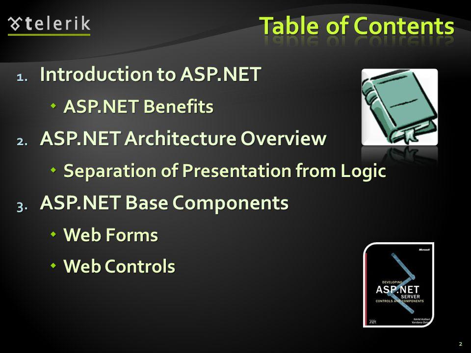 1. Introduction to ASP.NET  ASP.NET Benefits 2.