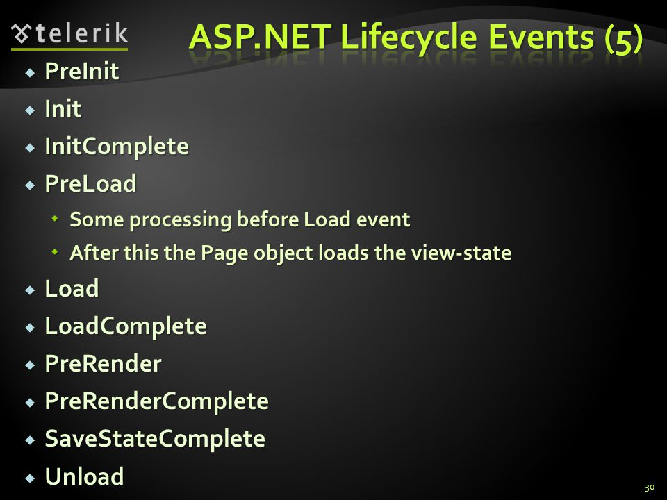  PreInit  Init  InitComplete  PreLoad  Some processing before Load event  After this the Page object loads the view-state  Load  LoadComplete  PreRender  PreRenderComplete  SaveStateComplete  Unload 30