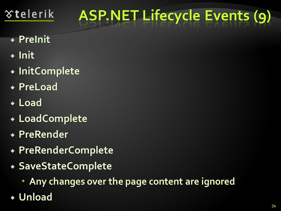  PreInit  Init  InitComplete  PreLoad  Load  LoadComplete  PreRender  PreRenderComplete  SaveStateComplete  Any changes over the page content are ignored  Unload 34