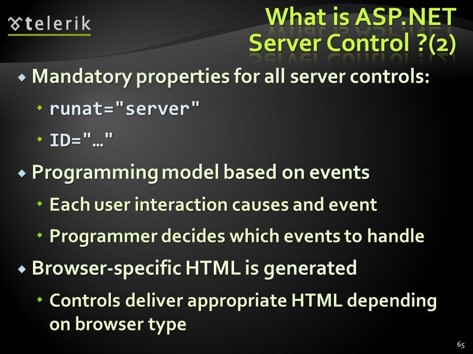  Mandatory properties for all server controls:  runat=