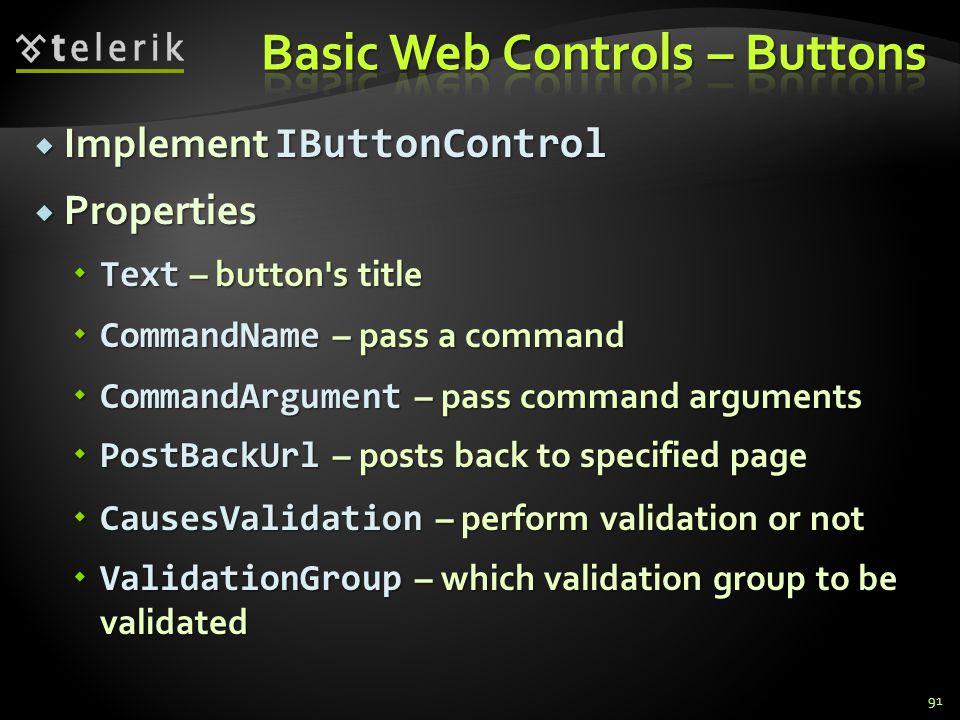  Implement IButtonControl  Properties  Text – button's title  CommandName – pass a command  CommandArgument – pass command arguments  PostBackUr