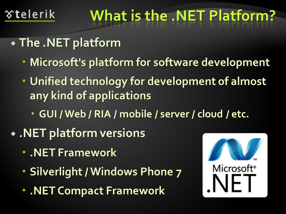  CTS defines the CLR supported types of data and the operations over them  Ensures data level compatibility between different.NET languages  E.g.