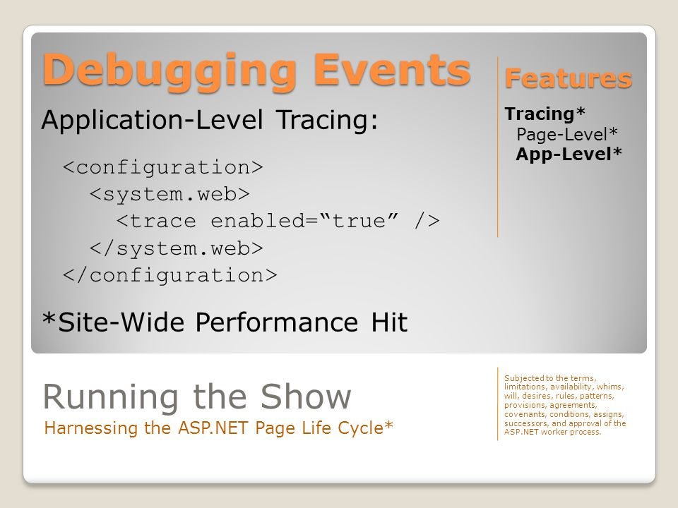 Debugging Events Tracing* Page-Level* App-Level* Features Application-Level Tracing: *Site-Wide Performance Hit Running the Show Harnessing the ASP.NE