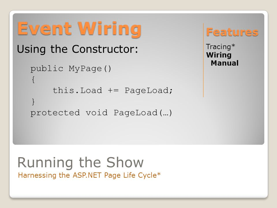 Event Wiring Tracing* Wiring Manual Features Using the Constructor: public MyPage() { this.Load += PageLoad; } protected void PageLoad(…) Running the Show Harnessing the ASP.NET Page Life Cycle*