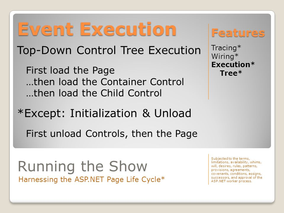 Event Execution Tracing* Wiring* Execution* Tree* Features Subjected to the terms, limitations, availability, whims, will, desires, rules, patterns, provisions, agreements, covenants, conditions, assigns, successors, and approval of the ASP.NET worker process.