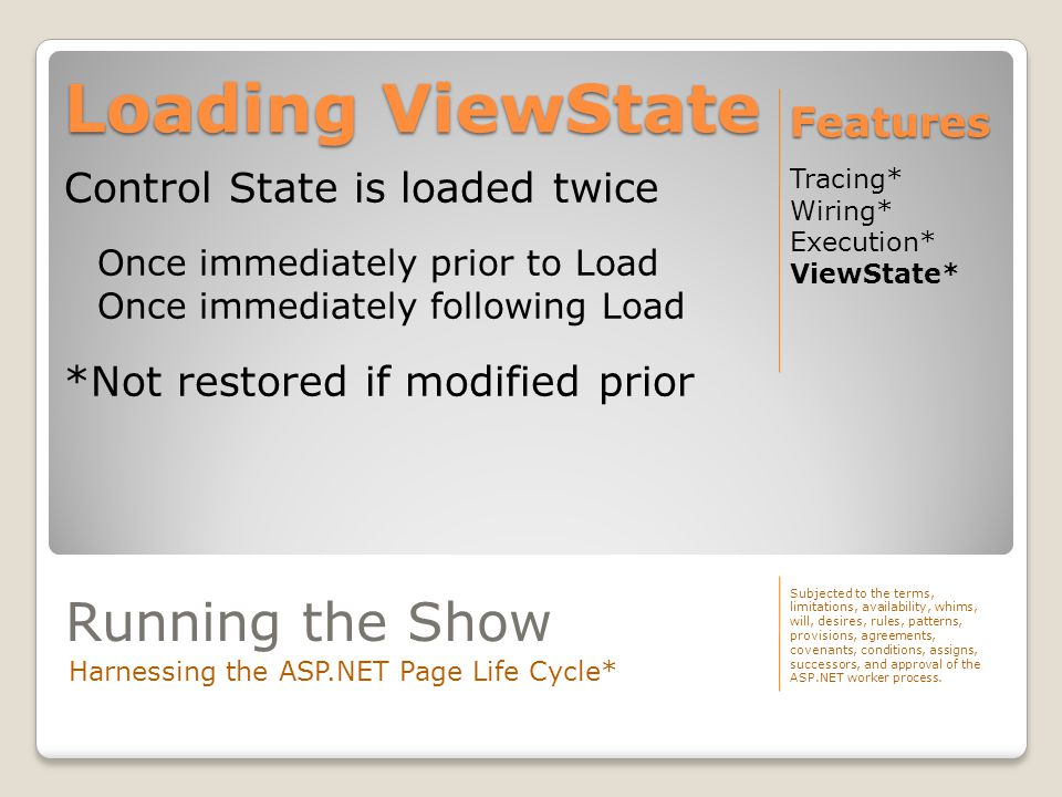 Loading ViewState Tracing* Wiring* Execution* ViewState* Features Subjected to the terms, limitations, availability, whims, will, desires, rules, patt