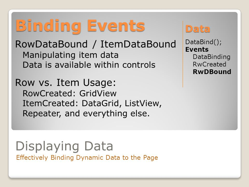 Displaying Data Effectively Binding Dynamic Data to the Page RowDataBound / ItemDataBound Manipulating item data Data is available within controls Row vs.