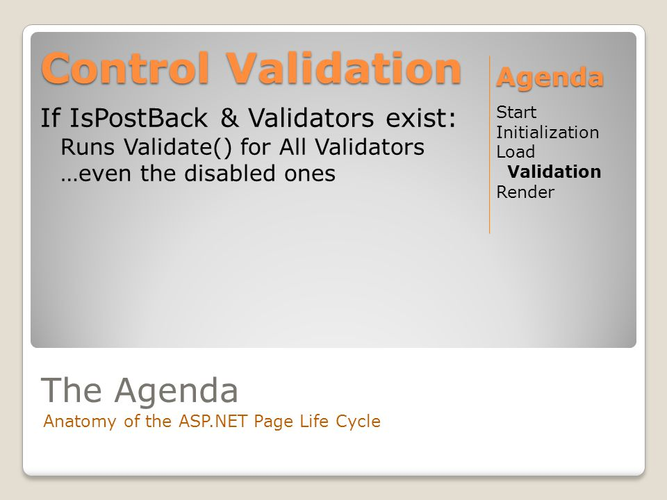 The Agenda Anatomy of the ASP.NET Page Life Cycle If IsPostBack & Validators exist: Runs Validate() for All Validators …even the disabled ones Control Validation Start Initialization Load Validation Render Agenda