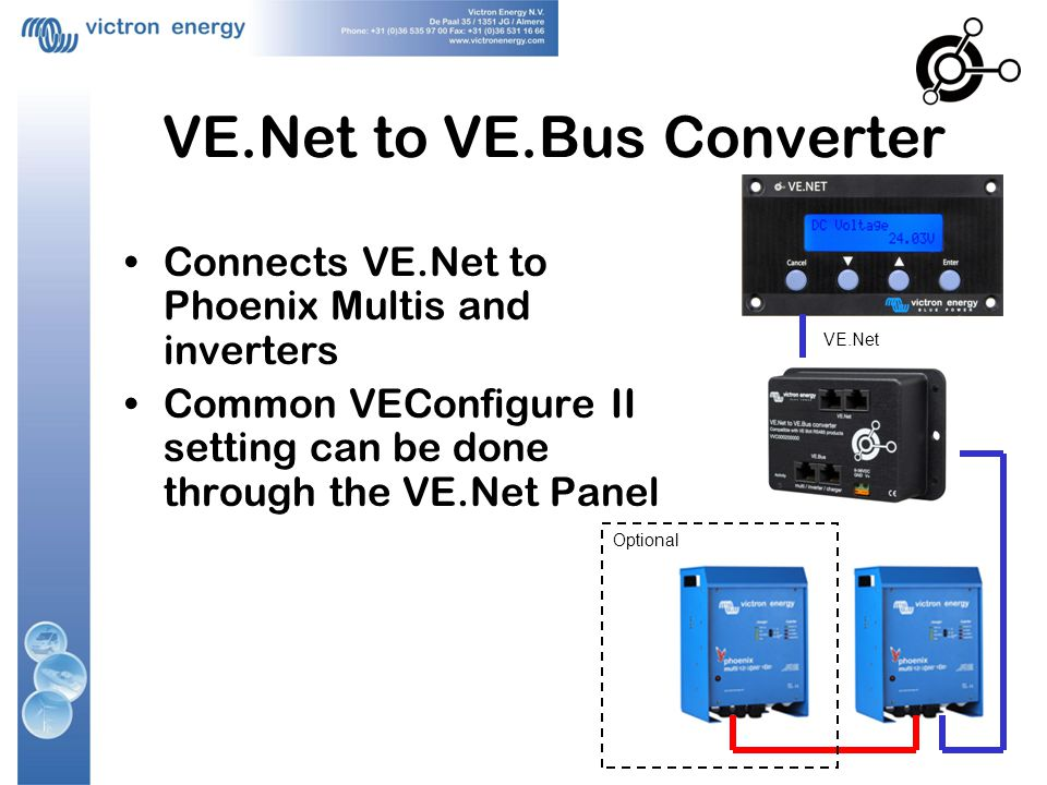VE.Net to VE.Bus Converter Connects VE.Net to Phoenix Multis and inverters Common VEConfigure II setting can be done through the VE.Net Panel VE.Net Optional
