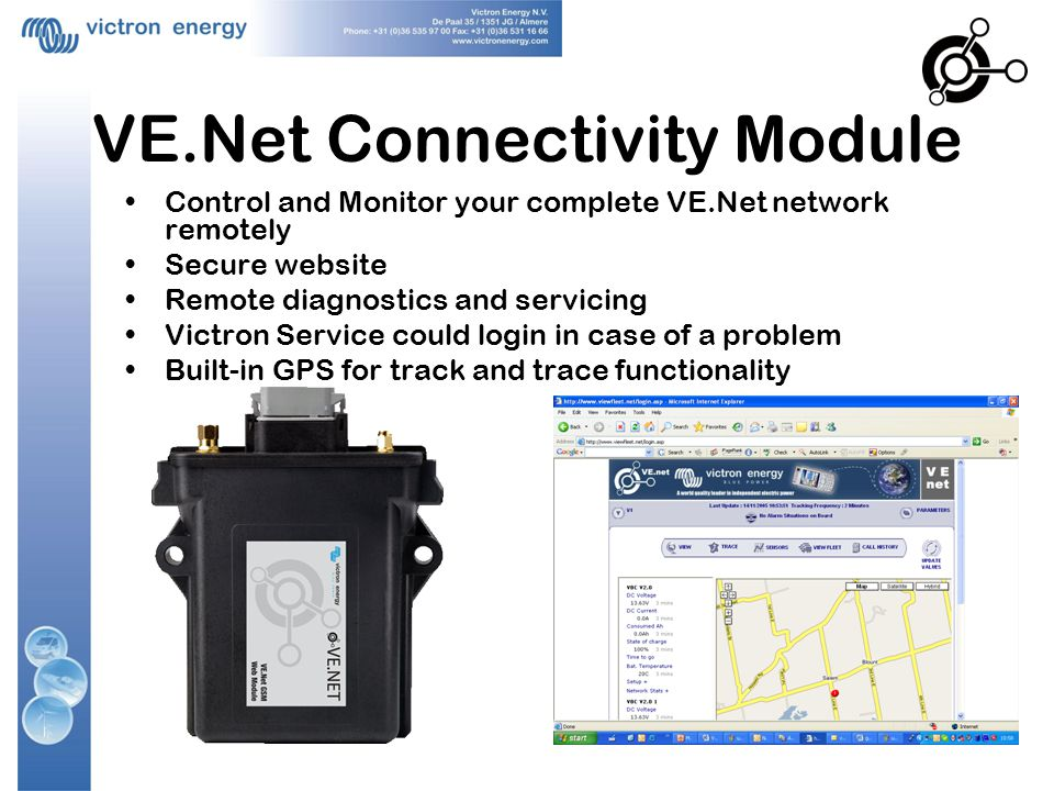 VE.Net Connectivity Module Control and Monitor your complete VE.Net network remotely Secure website Remote diagnostics and servicing Victron Service c
