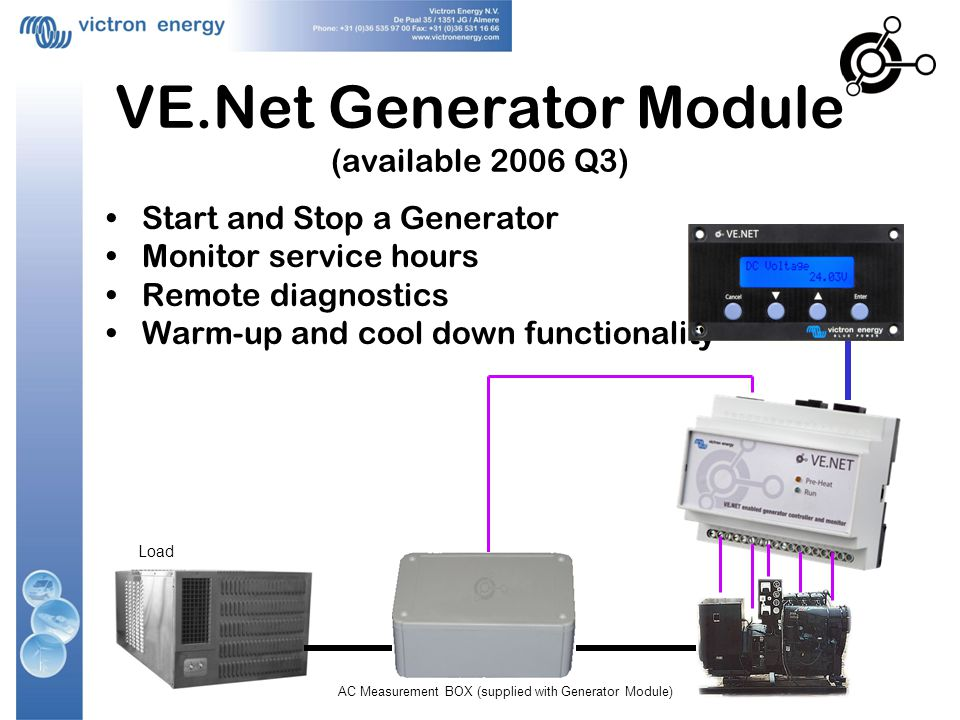 VE.Net Generator Module (available 2006 Q3) Start and Stop a Generator Monitor service hours Remote diagnostics Warm-up and cool down functionality Load AC Measurement BOX (supplied with Generator Module)
