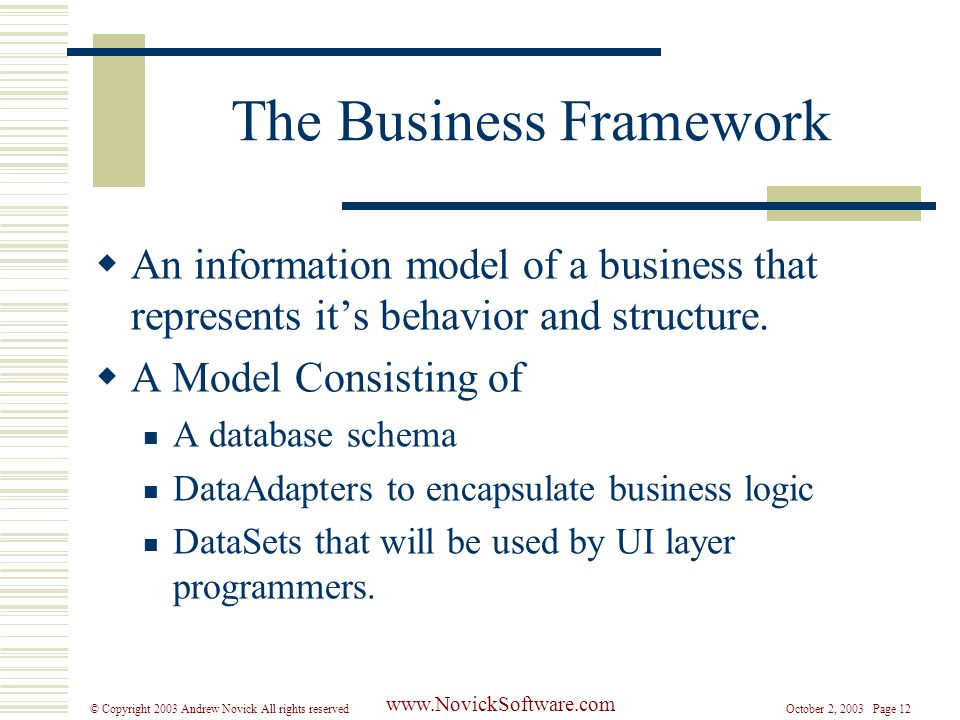 October 2, 2003 Page 12© Copyright 2003 Andrew Novick All rights reserved www.NovickSoftware.com The Business Framework  An information model of a business that represents it's behavior and structure.