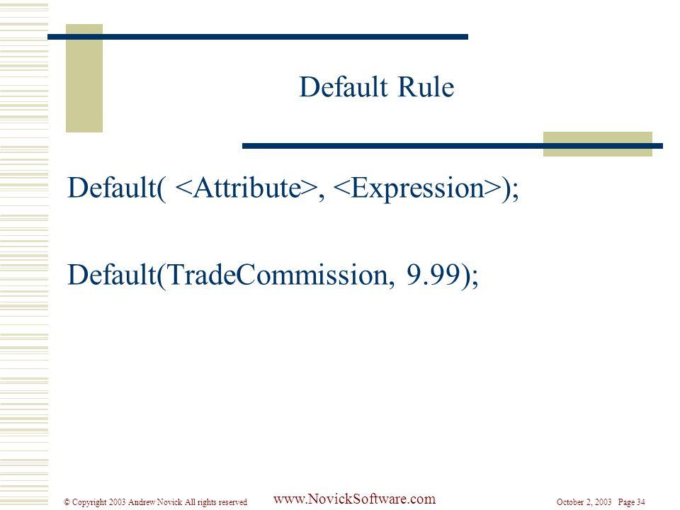 October 2, 2003 Page 34© Copyright 2003 Andrew Novick All rights reserved www.NovickSoftware.com Default Rule Default(, ); Default(TradeCommission, 9.99);