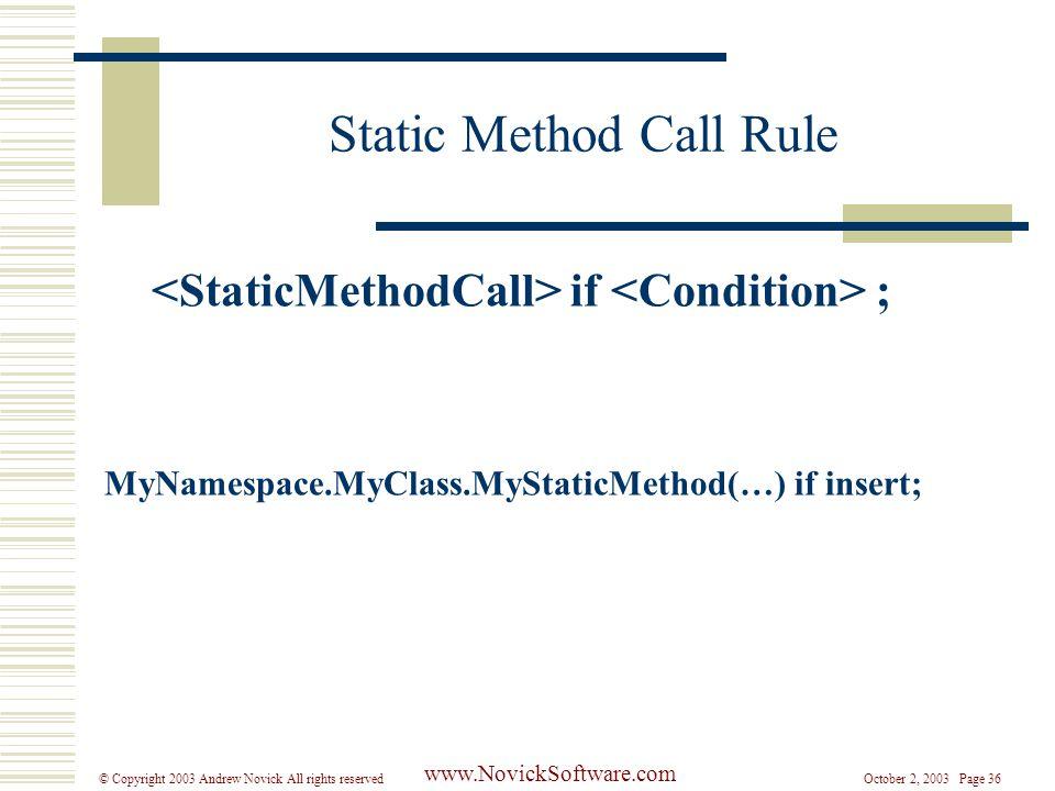 October 2, 2003 Page 36© Copyright 2003 Andrew Novick All rights reserved www.NovickSoftware.com Static Method Call Rule if ; MyNamespace.MyClass.MyStaticMethod(…) if insert;