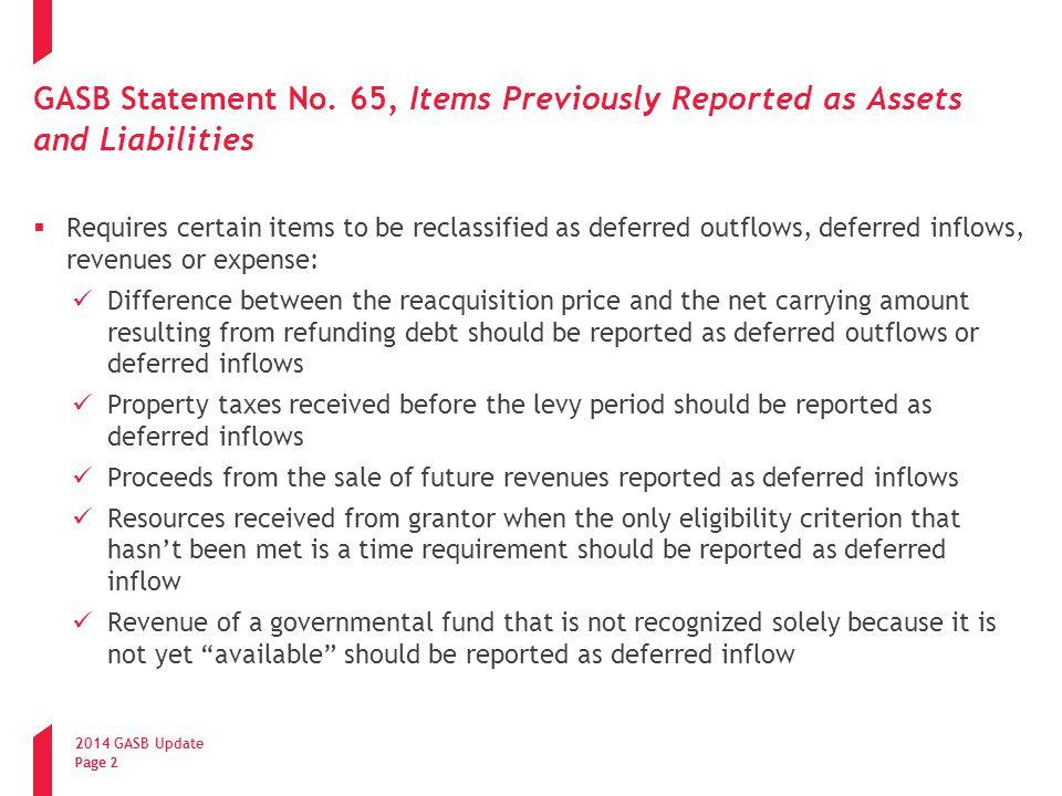 2014 GASB Update Page 3 GASB Statement No.