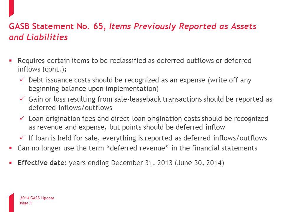 2014 GASB Update Page 14 GASB Statement No.