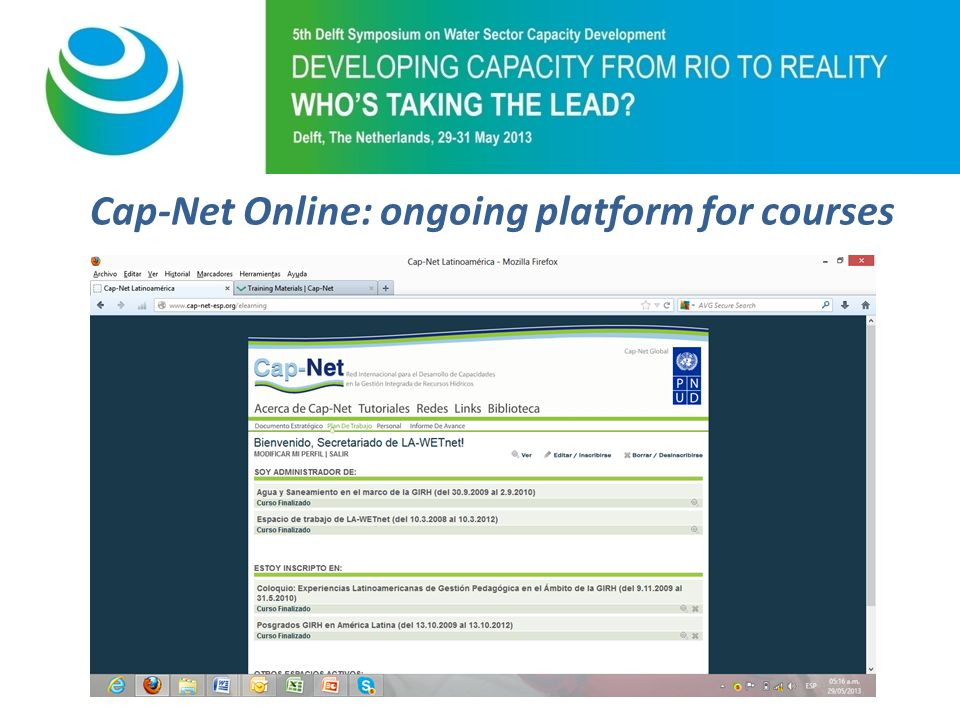 Purpose of 5th Symposium Cap-Net Online: ongoing platform for courses