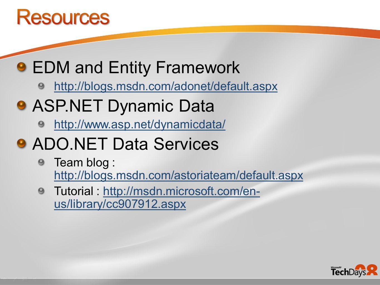 EDM and Entity Framework http://blogs.msdn.com/adonet/default.aspx ASP.NET Dynamic Data http://www.asp.net/dynamicdata/ ADO.NET Data Services Team blog : http://blogs.msdn.com/astoriateam/default.aspx http://blogs.msdn.com/astoriateam/default.aspx Tutorial : http://msdn.microsoft.com/en- us/library/cc907912.aspxhttp://msdn.microsoft.com/en- us/library/cc907912.aspx