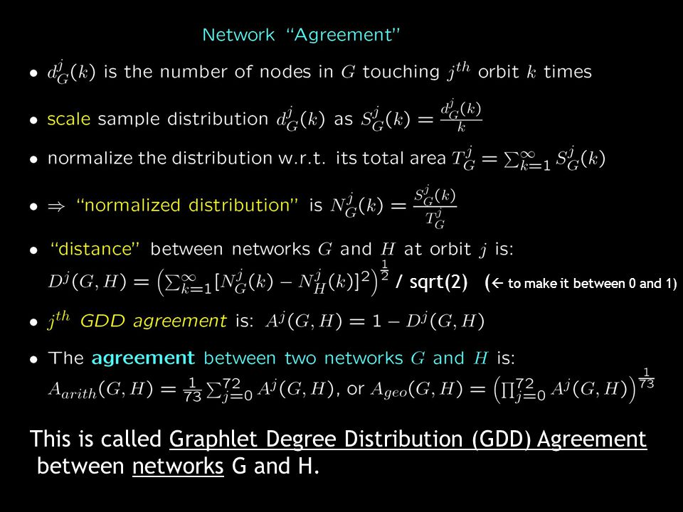 / sqrt(2) (  to make it between 0 and 1) This is called Graphlet Degree Distribution (GDD) Agreement between networks G and H.
