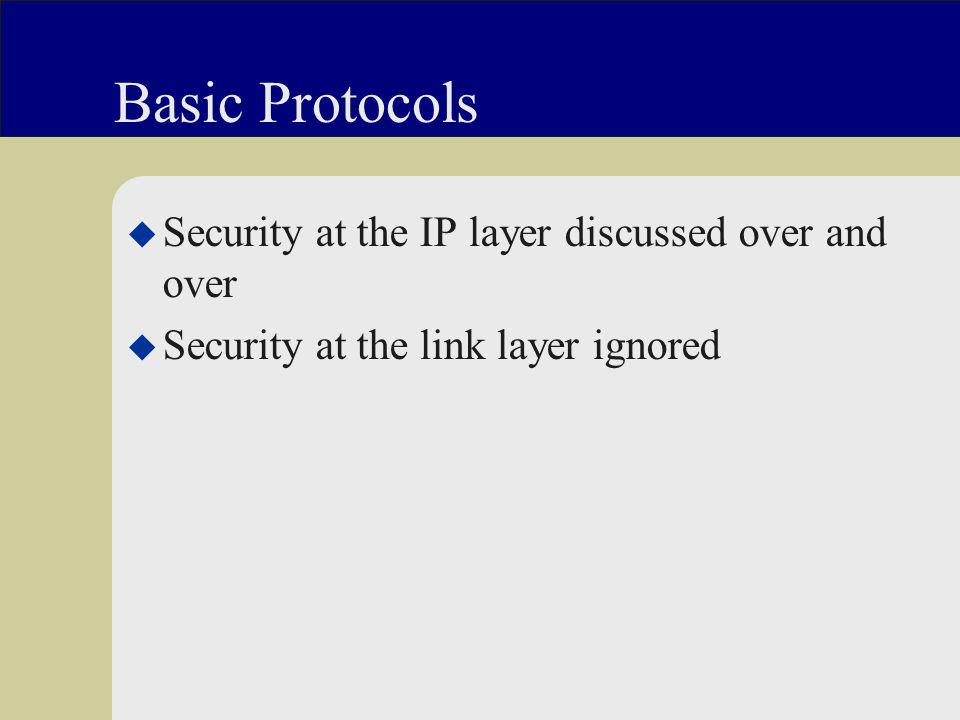 Basic Protocols u Security at the IP layer discussed over and over u Security at the link layer ignored