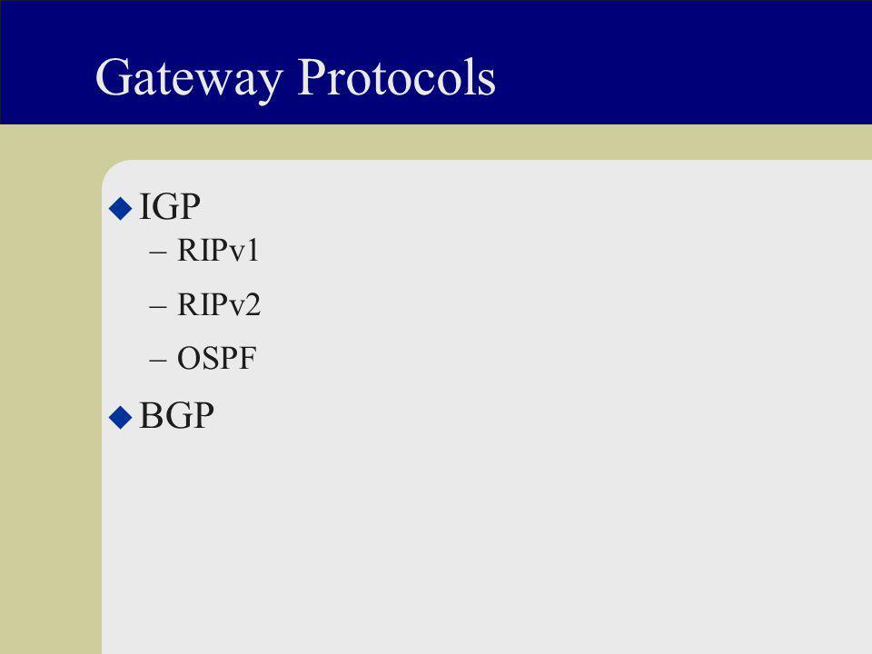 Gateway Protocols u IGP –RIPv1 –RIPv2 –OSPF u BGP