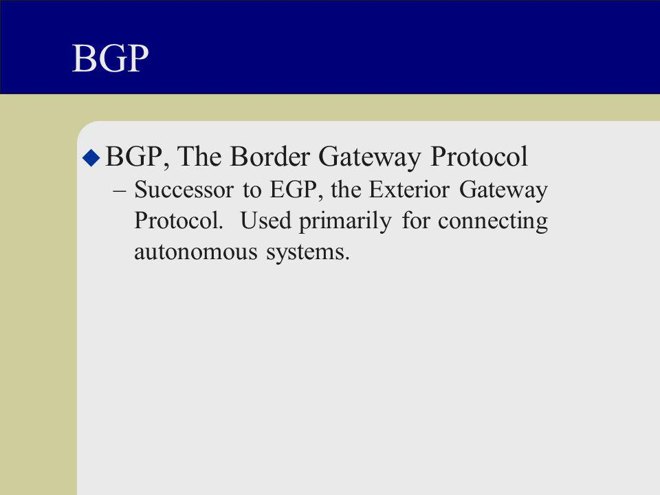 BGP u BGP, The Border Gateway Protocol –Successor to EGP, the Exterior Gateway Protocol.