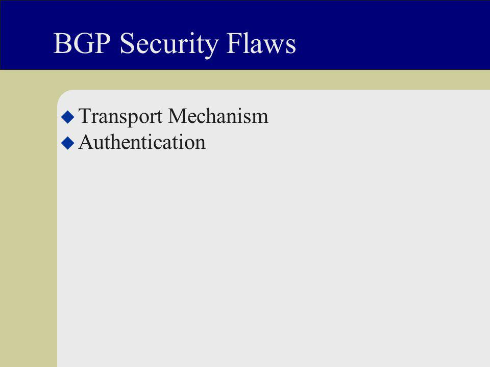 BGP Security Flaws u Transport Mechanism u Authentication