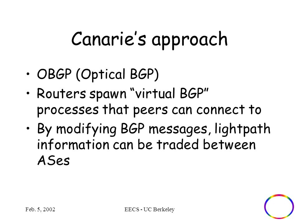 "Feb. 5, 2002EECS - UC Berkeley Canarie's approach OBGP (Optical BGP) Routers spawn ""virtual BGP"" processes that peers can connect to By modifying BGP"