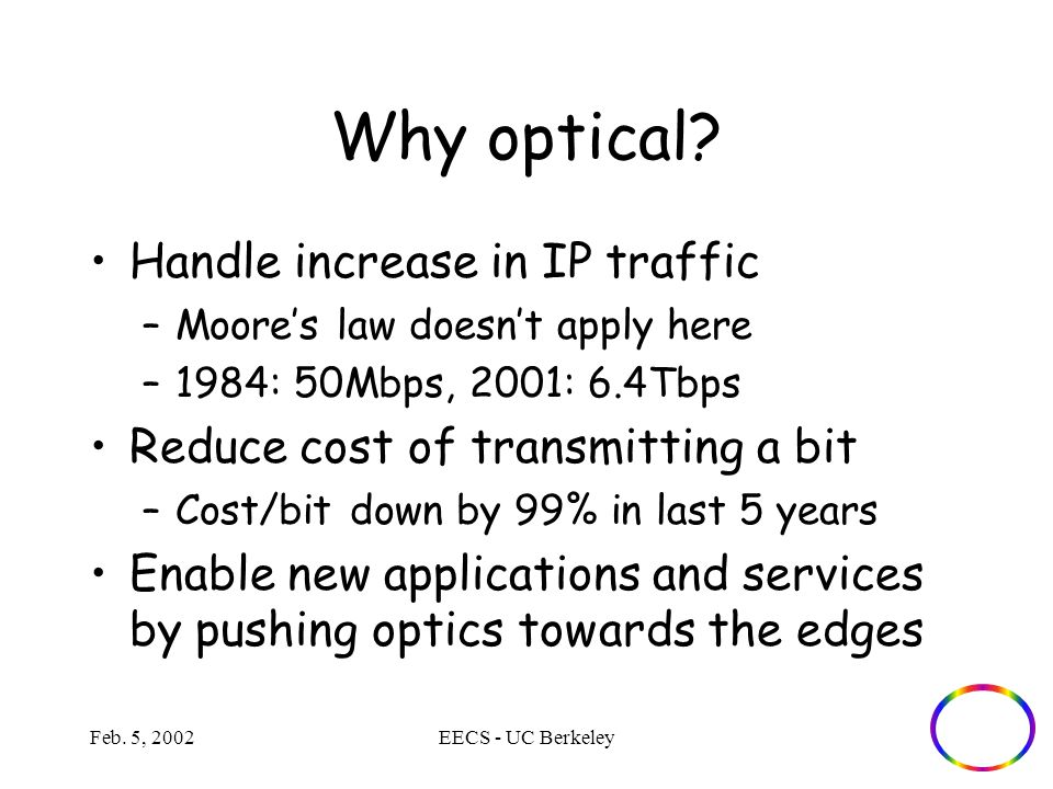 Feb. 5, 2002EECS - UC Berkeley Why optical.