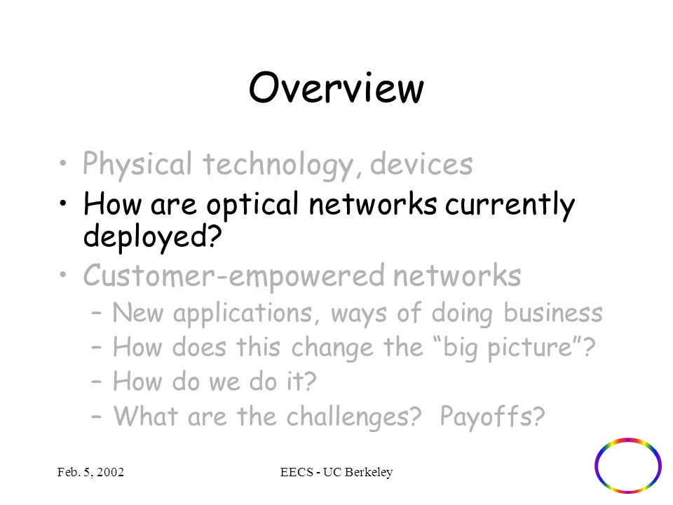 Feb. 5, 2002EECS - UC Berkeley Overview Physical technology, devices How are optical networks currently deployed? Customer-empowered networks –New app