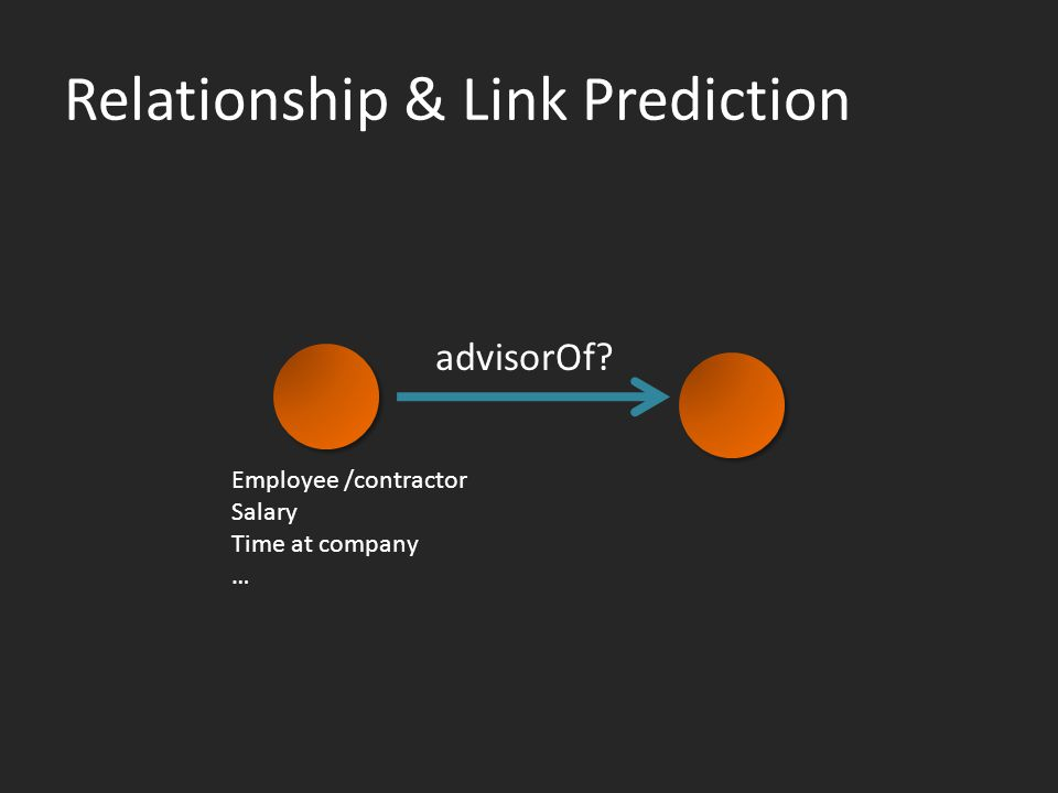 Relationship & Link Prediction advisorOf Employee /contractor Salary Time at company …