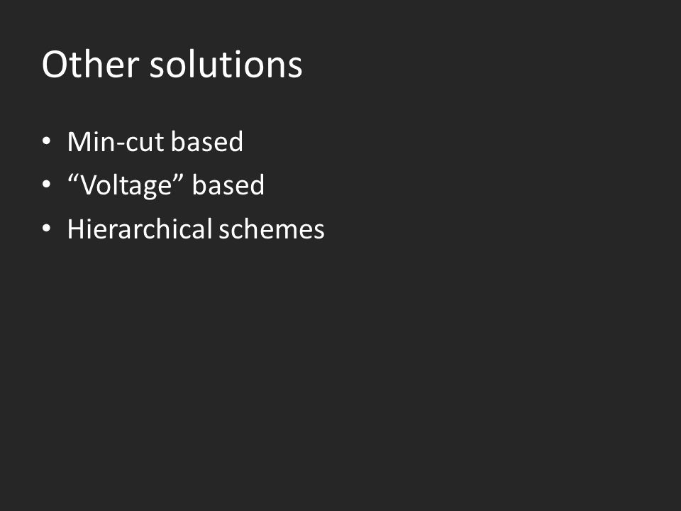 Other solutions Min-cut based Voltage based Hierarchical schemes