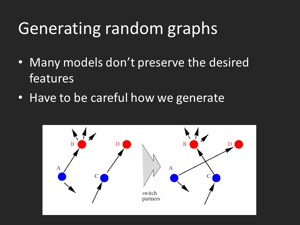 Generating random graphs Many models don't preserve the desired features Have to be careful how we generate