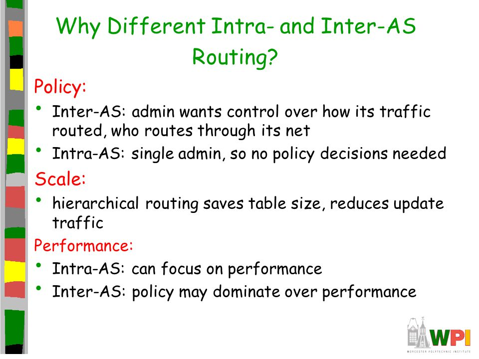 Why Different Intra- and Inter-AS Routing? Policy: Inter-AS: admin wants control over how its traffic routed, who routes through its net Intra-AS: sin