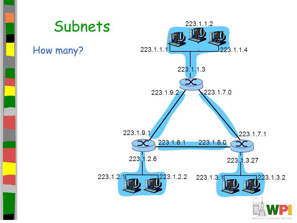 Subnets How many? 223.1.1.1 223.1.1.3 223.1.1.4 223.1.2.2 223.1.2.1 223.1.2.6 223.1.3.2 223.1.3.1 223.1.3.27 223.1.1.2 223.1.7.0 223.1.7.1 223.1.8.022