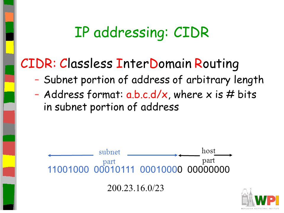 IP addressing: CIDR CIDR: Classless InterDomain Routing –Subnet portion of address of arbitrary length –Address format: a.b.c.d/x, where x is # bits in subnet portion of address 11001000 00010111 00010000 00000000 subnet part host part 200.23.16.0/23