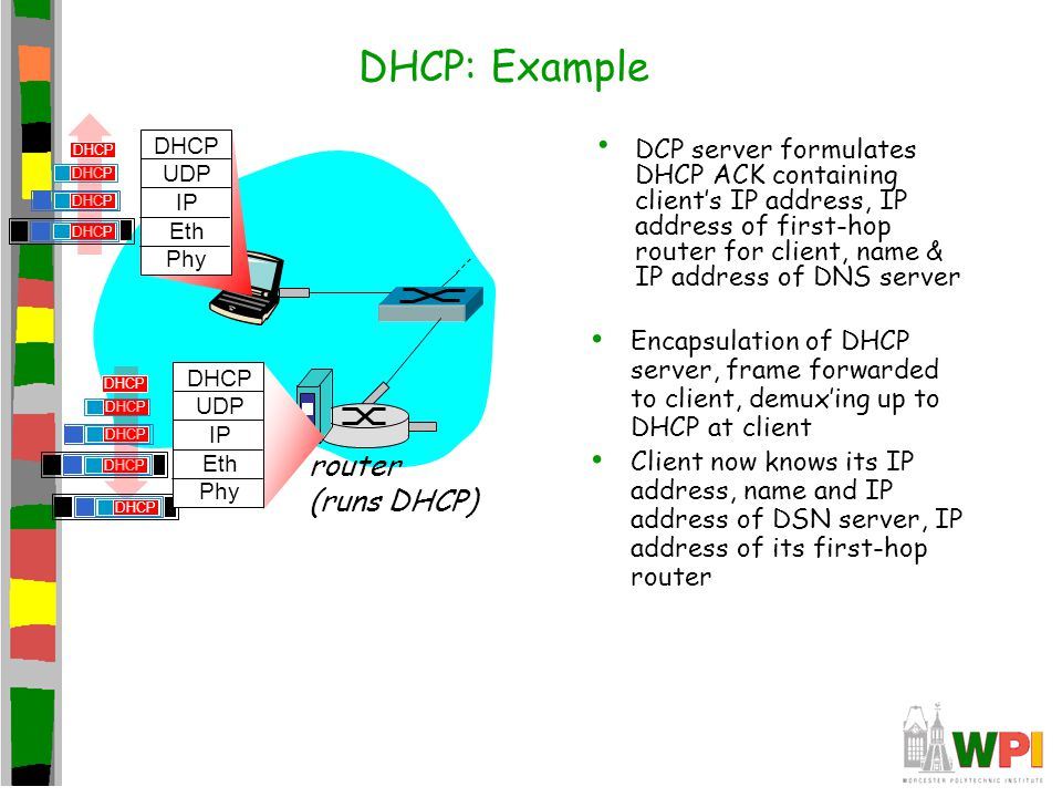 DCP server formulates DHCP ACK containing client's IP address, IP address of first-hop router for client, name & IP address of DNS server router (runs