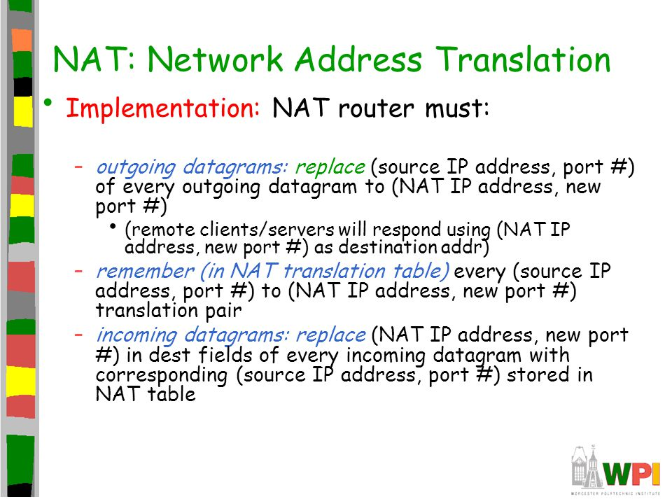 NAT: Network Address Translation Implementation: NAT router must: –outgoing datagrams: replace (source IP address, port #) of every outgoing datagram