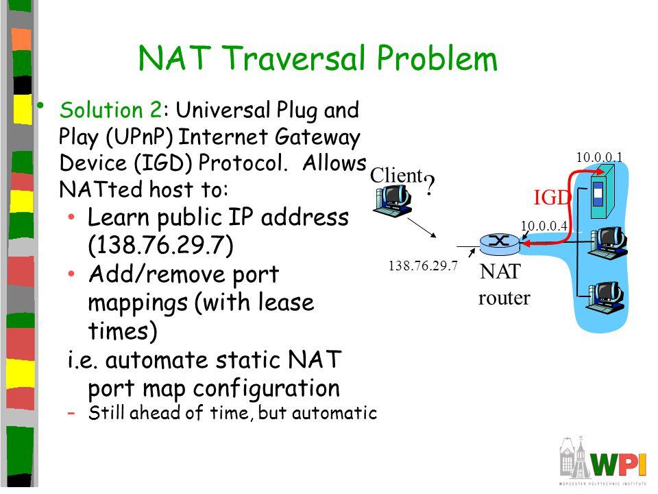 NAT Traversal Problem Solution 2: Universal Plug and Play (UPnP) Internet Gateway Device (IGD) Protocol.