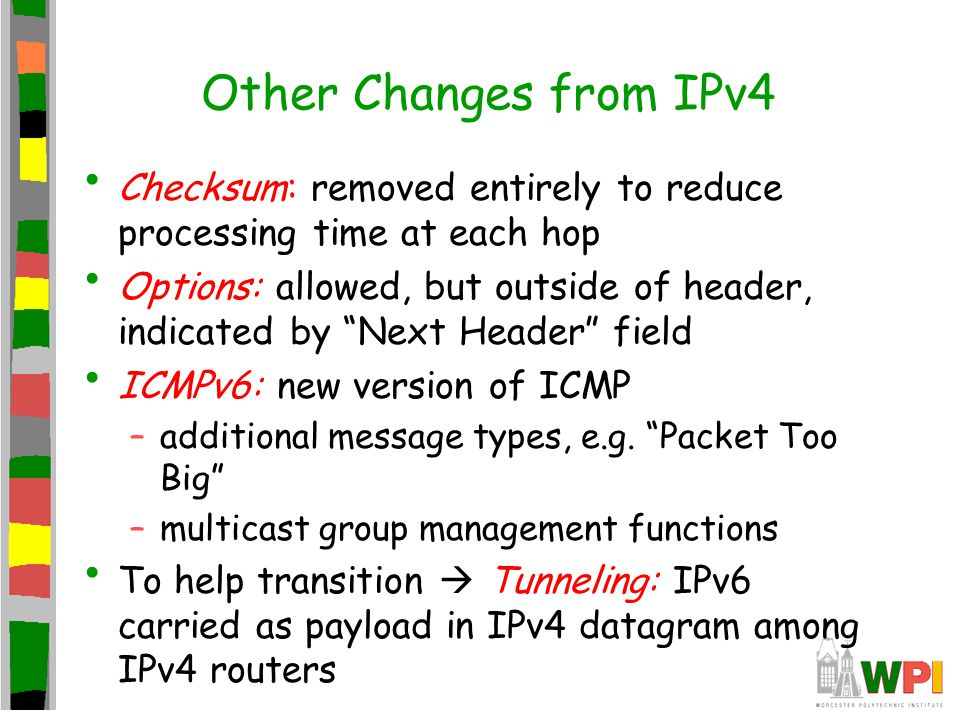 Other Changes from IPv4 Checksum: removed entirely to reduce processing time at each hop Options: allowed, but outside of header, indicated by Next Header field ICMPv6: new version of ICMP –additional message types, e.g.