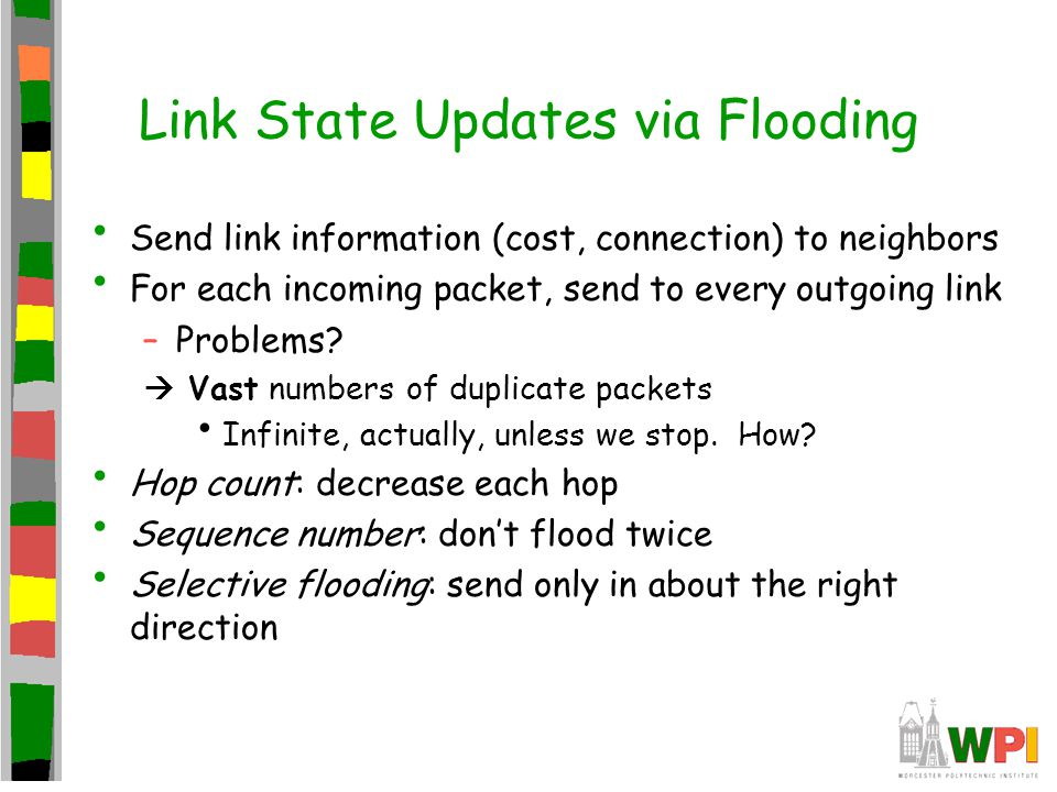 Link State Updates via Flooding Send link information (cost, connection) to neighbors For each incoming packet, send to every outgoing link –Problems.