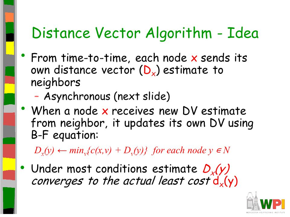 Distance Vector Algorithm - Idea From time-to-time, each node x sends its own distance vector (D x ) estimate to neighbors –Asynchronous (next slide)