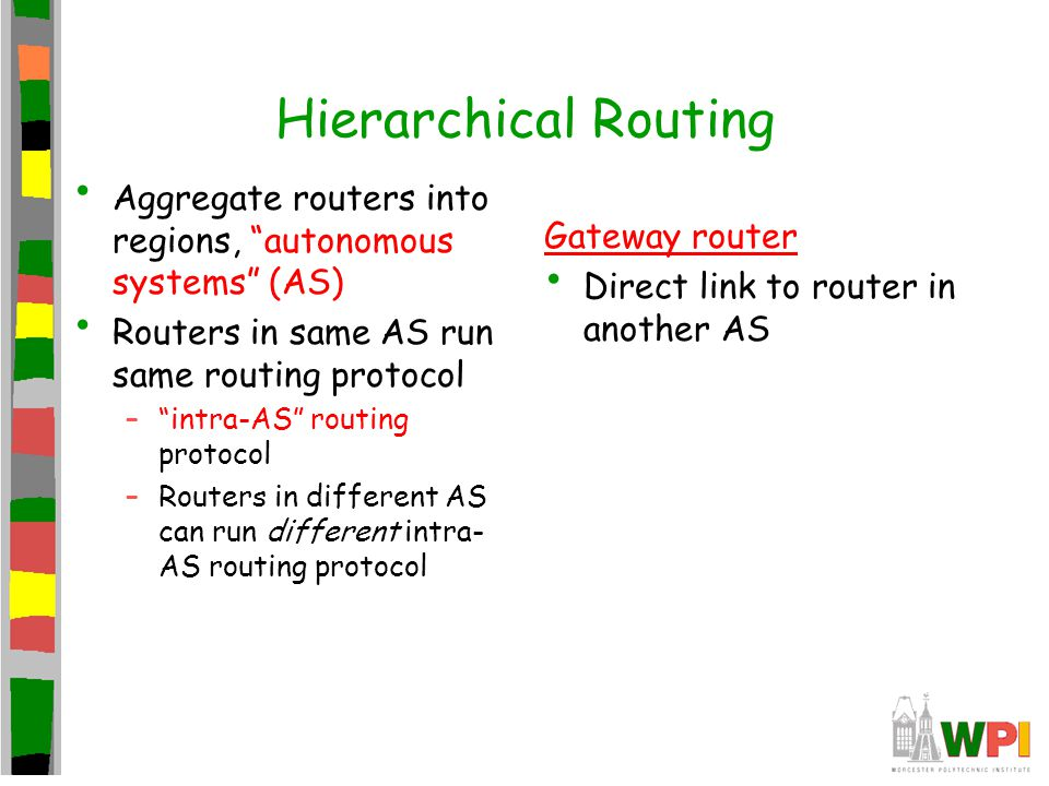 Hierarchical Routing Aggregate routers into regions, autonomous systems (AS) Routers in same AS run same routing protocol – intra-AS routing protocol –Routers in different AS can run different intra- AS routing protocol Gateway router Direct link to router in another AS