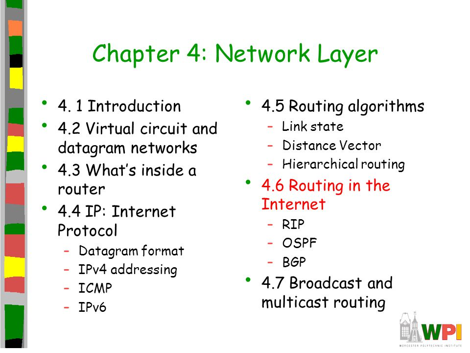 Chapter 4: Network Layer 4. 1 Introduction 4.2 Virtual circuit and datagram networks 4.3 What's inside a router 4.4 IP: Internet Protocol –Datagram fo