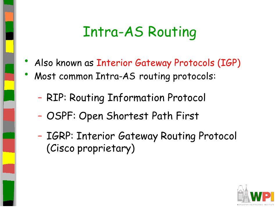 Intra-AS Routing Also known as Interior Gateway Protocols (IGP) Most common Intra-AS routing protocols: –RIP: Routing Information Protocol –OSPF: Open