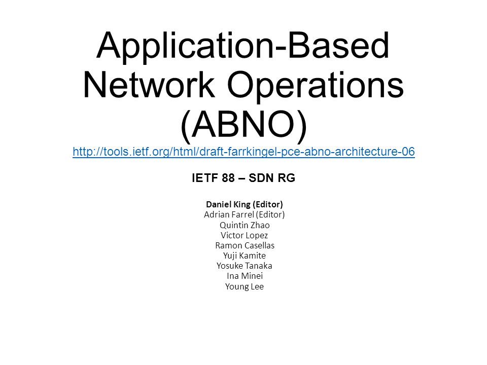 Control of Today's Networks InternetVoiceCDNCloudBusiness Application Network OSS Metro OSS NMS Vendor A IP Core OSS Optical OSS Umbrella OSS NMS Vendor B NMS Vendor C NMS Vendor D NMS Vendor E NMS Vendor C NMS Vendor A NMS Vendor B Metro Node Vendor A Metro Node Vendor A IP Node Vendor C IP Node Vendor C IP Node Vendor C Optical Node Vendor B Optical Node Vendor B Optical Node Vendor B Network Nodes Current network operation is not adapted to flexible networking Multiple manual configuration actions are needed for network nodes Network solutions from different vendors typically use specific OSS/NMS implementations Very long provisioning times Lack of network bandwidth flexibility and inefficient use of inherent function