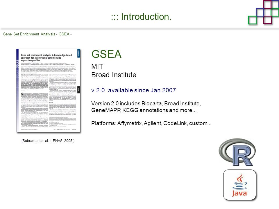 Gene Set Enrichment Analysis - GSEA - ::: Introduction.