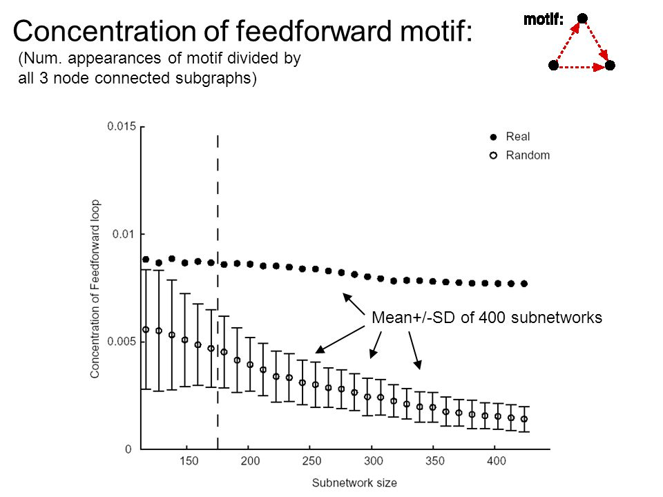 Concentration of feedforward motif: Mean+/-SD of 400 subnetworks (Num.
